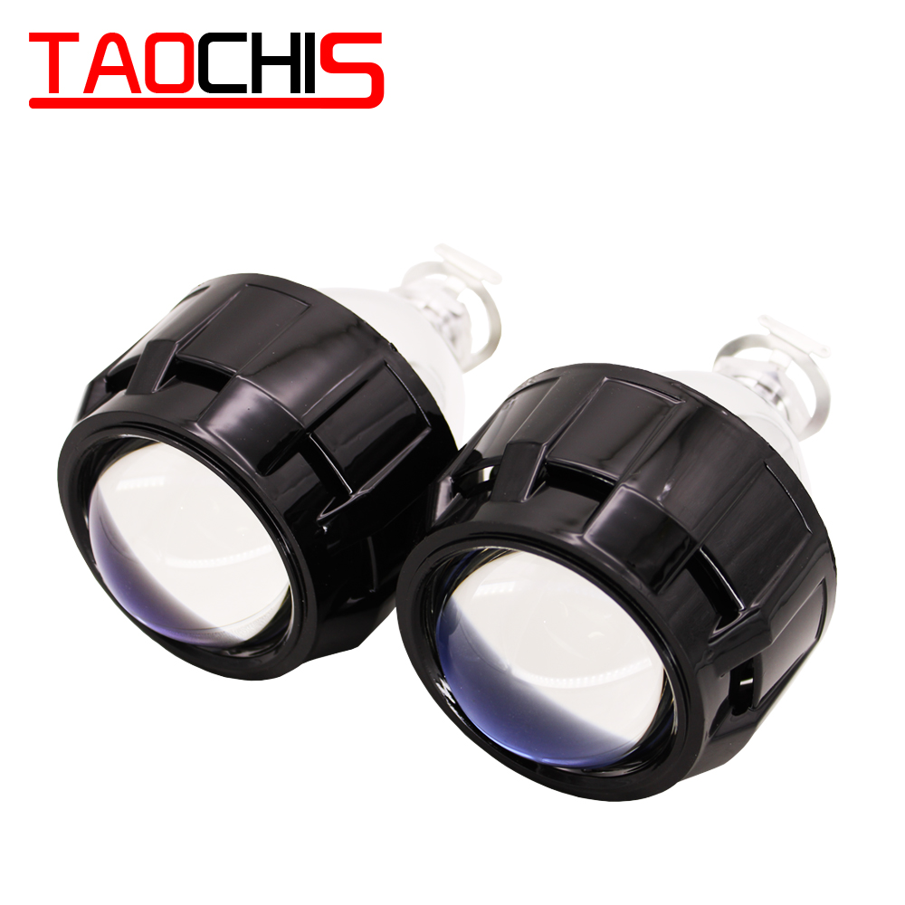 TAOCHIS 2.5 MINI H1 Bi Xenon Projector Lens Mask Cover Black Color Chrome Color WST Lens With Light Bulbs Fast Bright Ballast