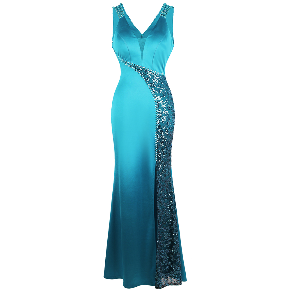 Angel-fashions Women's V Neck Beading Sequin Splicing Evening Dresses Long Formal Party Gwon  Ice-Snow Blue 463