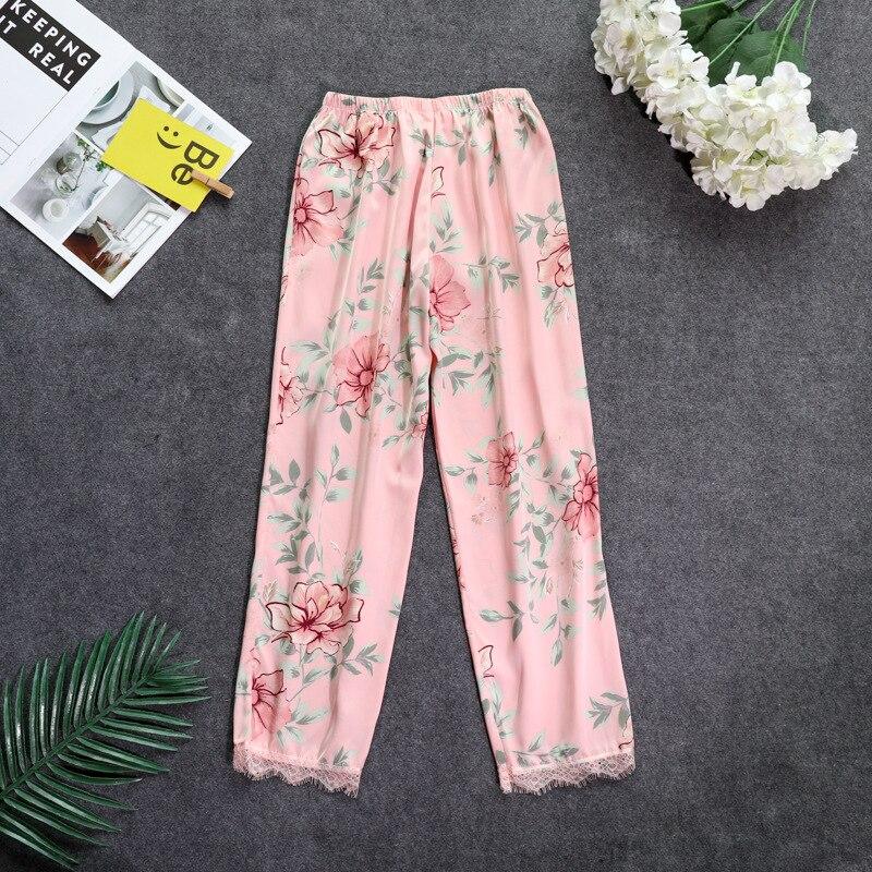Осенние женские атласные пижамные штаны Свободные повседневные пижамы одежда для сна штаны для отдыха домашняя одежда - Цвет: pink A