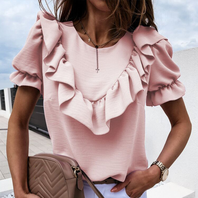 Women Ruffle Puff Short Sleeve Summer Blouse Chiffon Fashion Purple O-Neck Blouses Female 2020 Lady Loose Elegant Casual Tops