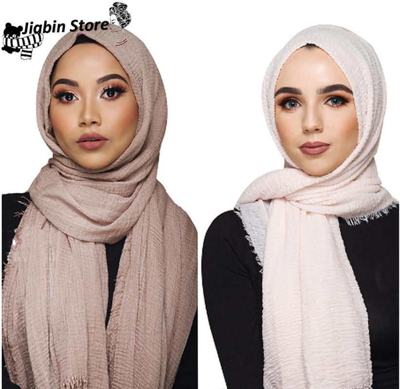 Women Islam Maxi Crinkle Cloud Hijab Scarf Shawl Muslim Long Shawl Stole Wrap