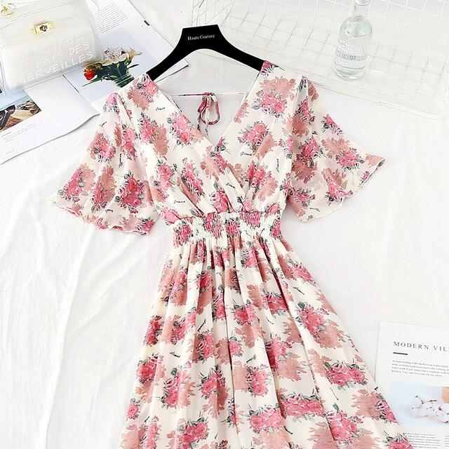 Summer Fairy Dress Women French Style Vintage Retro Chiffon Dress Short sleeve Casual Elegant Floral Print Dress Women 2021 New 4
