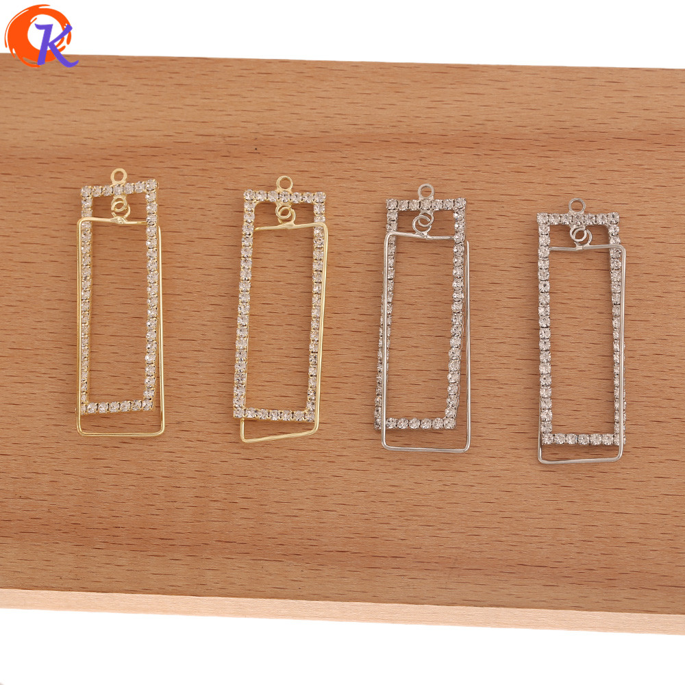 Cordial Design 40Pcs 15*49MM Jewelry Accessories/Earrings Connectors/Rhinestone Claw Chain/Rectangle Shape/Hand Made/DIY Making
