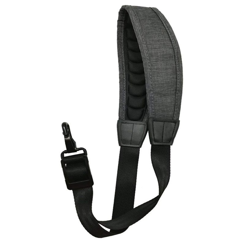 Saxophone Strap Alto Tenor Bari Soprano Sax Neck Strap Pressure Reducing Soft Padded With Metal Hook Dark Grey