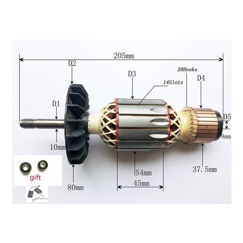 AC220-240V Rotor Armature Replace For Bosch GWS18-180 GWS19-180 GWS2000-180J GWS19-230 GWS2000-230 GWS18U GWS21U GWS20-180