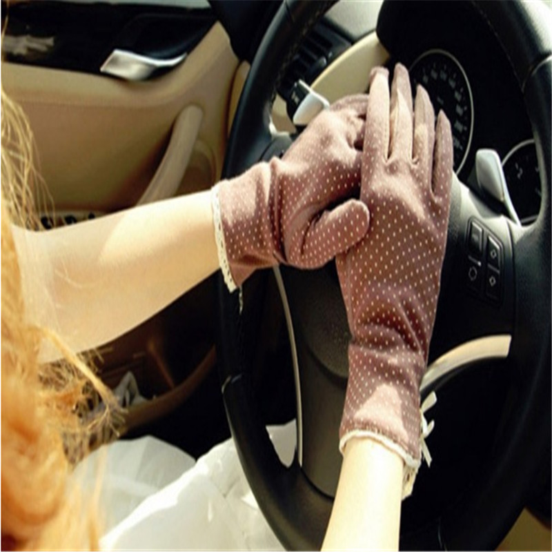 Women Dots Sun Uv Protection Outdoor Cotton Driving Gloves