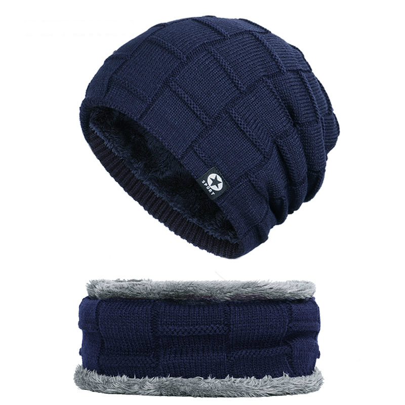 Neck Warmer Knitted Hat Scarf Set Fur Wool Lining Thick Warm Knit Beanies Balaclava Winter Hats Men Cap Skullies Bonnet