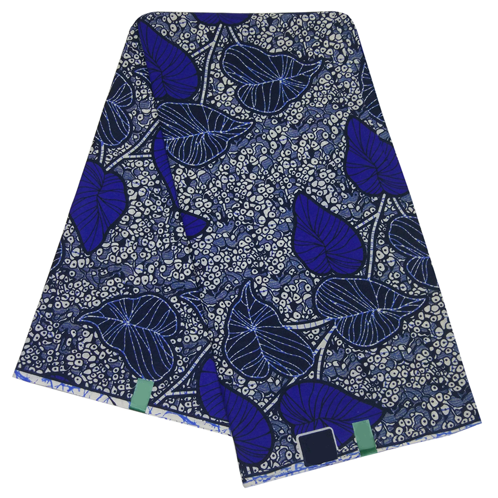 African 2019 Newest Arrival Blue Leaf Pattern Printed Polyester Tissus Africain Wax Printed Fabric 6Yards\lot
