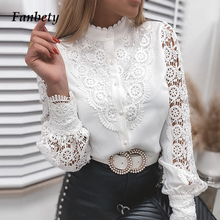 Women Elegant Embroidery Lace Blouse Shirt 2021 Spring Casual Long Sleeve Stand Collar Tops Office Lady Solid Color Button Blusa