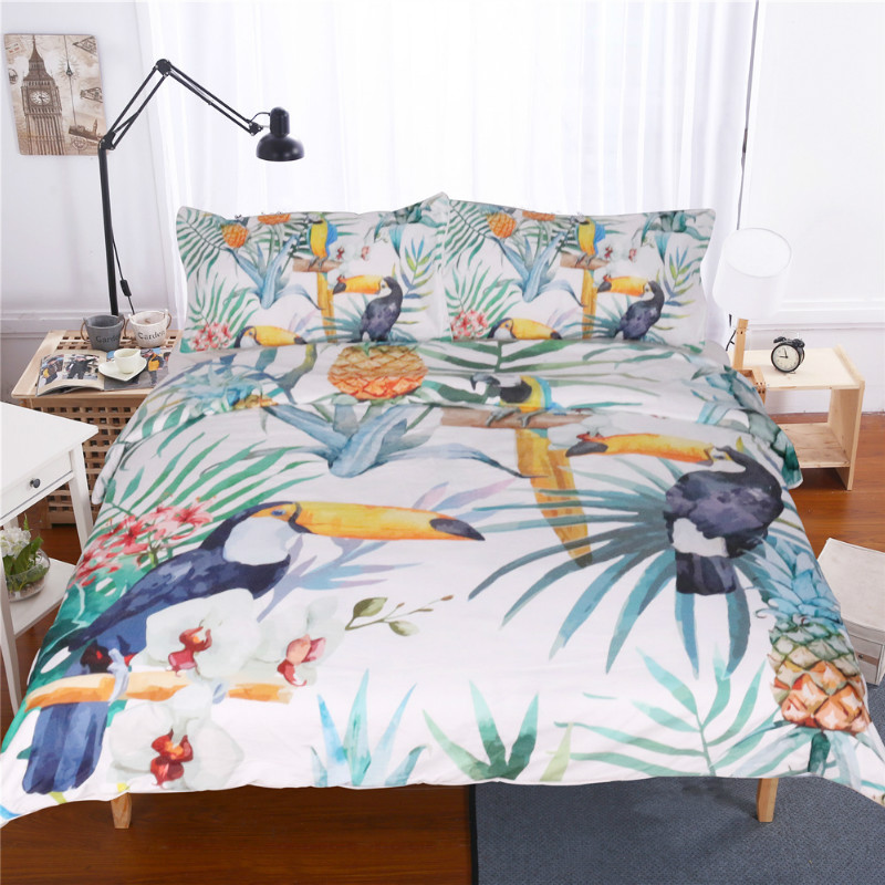 Tropical Plants Pattern Quilt Cover With 2 Pillowcase Fashion Bedding 3 Piece Set 3D Printing Available Size Bed Duvet Cover