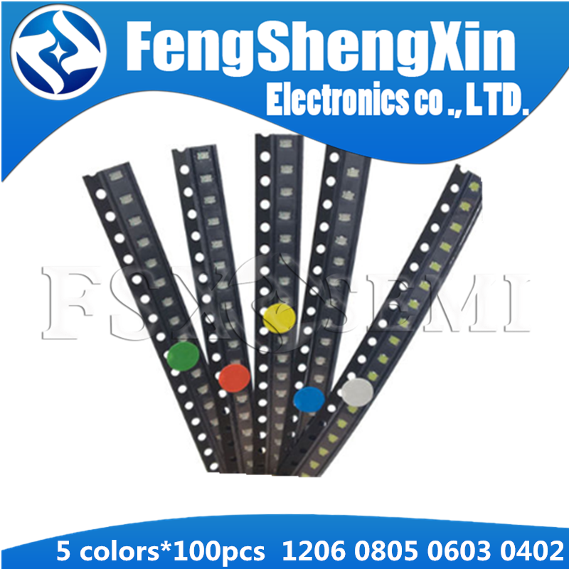 5values Colors X100pcs=500pcs New 1206 0805 0603 0402 SMD LED Red/Green/Blue/White/Yellow Kit