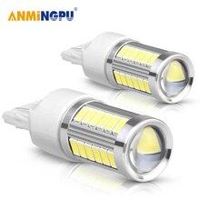 ANMINGPU 2Pcs Signal Lamp T20 W21/5W 7443 Auto Reverse Lamps 5730 33SMD Brake T20 Led Bulb 12V White Amber Red Brake light t20 18