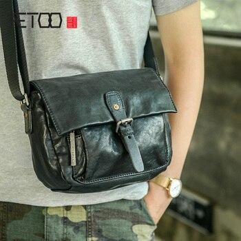 AETOO Large capacity men crossbody bag, leather cross soft casual trend shoulder bag