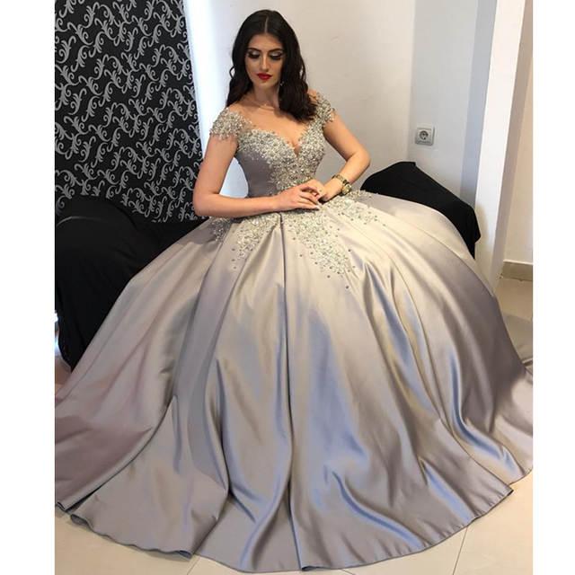 Abiti Da Cerimonia Vintage.2020 Custom Made Ball Gown Evening Dress Long Pearls Abiti Da