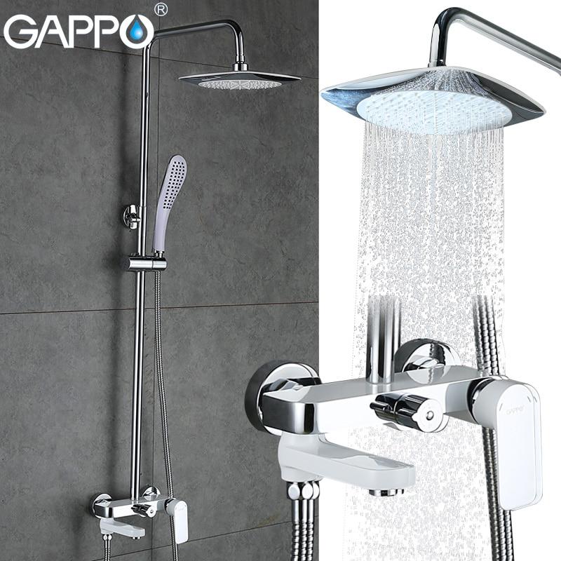 GAPPO Bathroom Shower Set Wall-mounted Bath Shower Faucets Bathroom Mixer Tap Torneira Bathtub Shower Head With Hand Shower