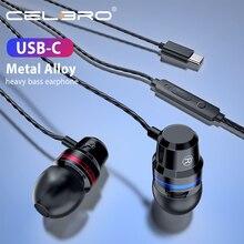 Usb C tipi kablolu kulaklık Hifi DJ kulaklık In kulak kulaklık için Mic ile kulaklık kulaklık Smartphone cep telefonu için huawei Xiaomi
