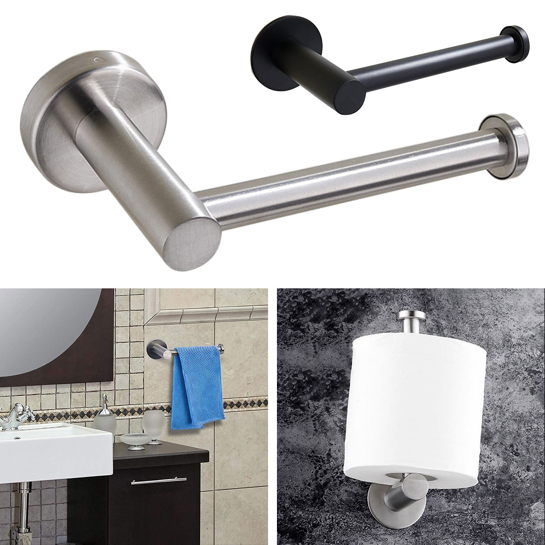 Bathroom Wall Mounted Toilet Paper Holder Rack Stainless Steel Tissue Roll Stand