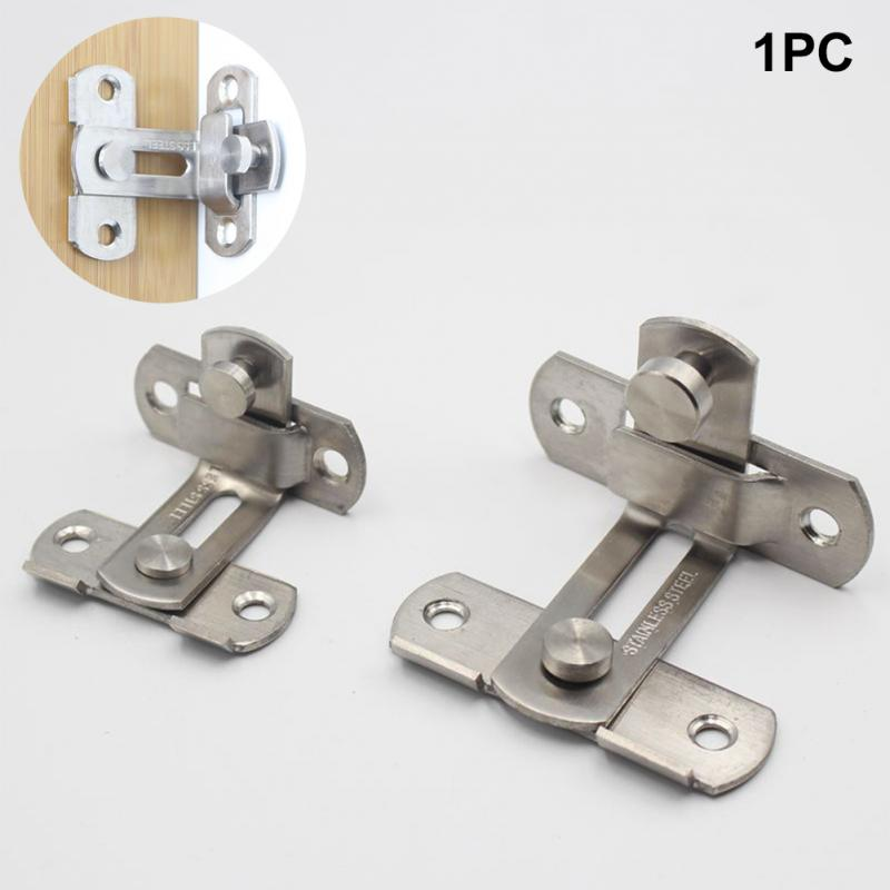 90 Degree Door Hasp Latch Lock Stainless Steel Sliding Door Chain Locks Home Cabinet Drawer Hotel Anti-theft Hardware Hasp Bolt