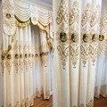 Европейские Роскошные занавески с золотым принтом, затемняющие занавески для гостиной, столовой, спальни, тюлевые занавески