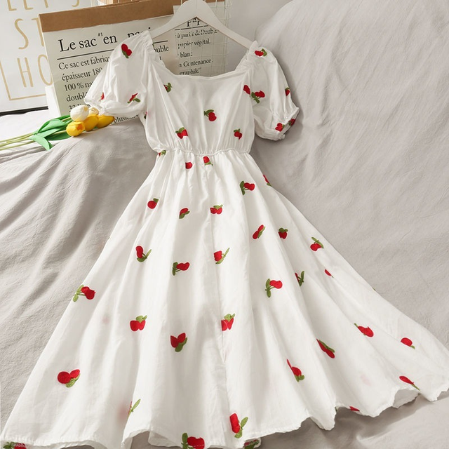Strawberry Dress Kawaii Embroidery Puff Sleeve Dress Women Vintage A-line White Square Neck Beach Dresses 2021 Korean Clothes 2