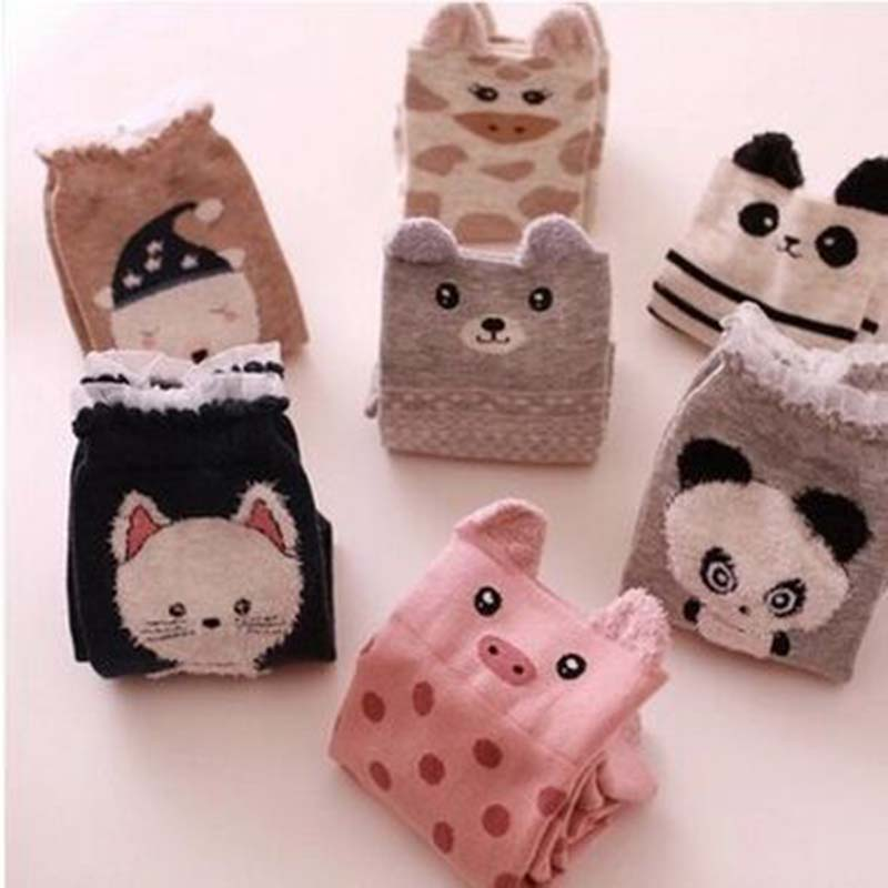 Fashion Cartoon Women Middle Tube Sock Pure Cotton Girl Autumn Stereoscopic Animal Socks Casual Breathable Hosiery Wholesale