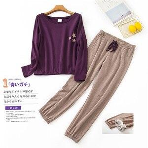 Image 3 - Zoete Warme Vrouwen Homewear Kleding Star Print Herfst Winter Lange Mouw Pyjama Set Katoen Vrouwelijke Nachtkleding Indoor Kleding