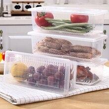 Fish Vegetable Storage Box Kitchen Refrigerator Rectangular Food with Drain Board Seafood Organizer