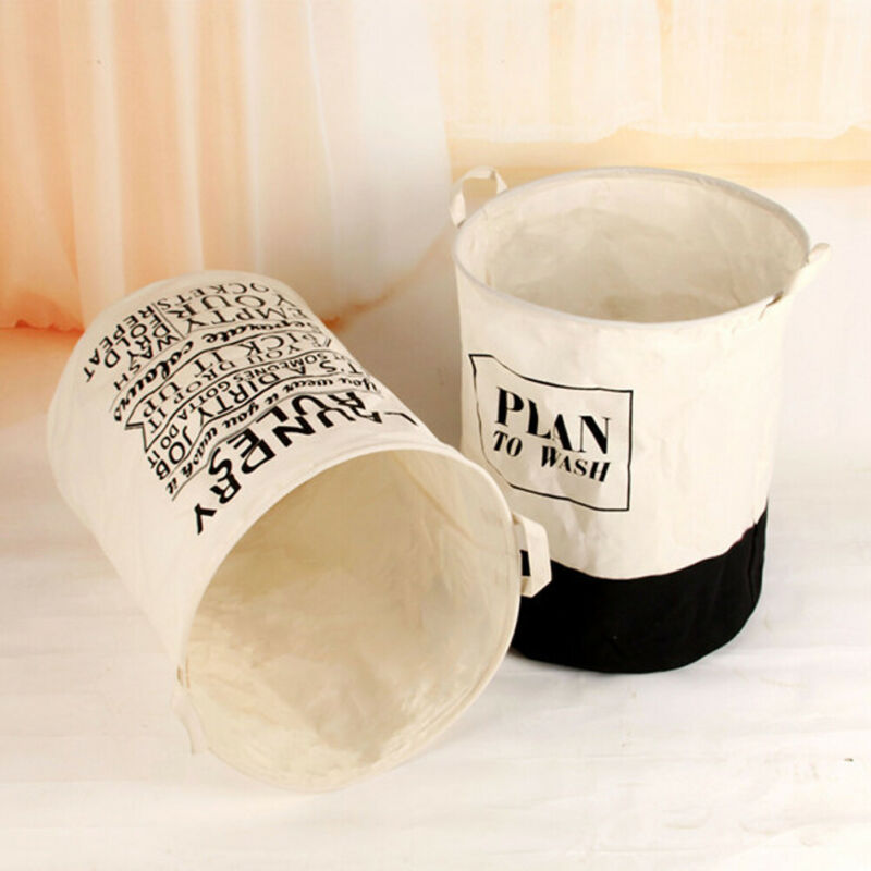 Faroot Multipurpose Dirty Clothes Striped Letter Print Storage Bucket Foldable Fabric Waterproof Hamper Laundry Basket 40*50CM