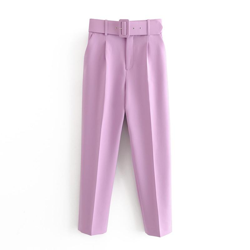 Hot Sale Women Candy Color Pants Purple Orange Beige Color Chic Business Trousers Female Fake Zipper Pantalones Mujer Pants