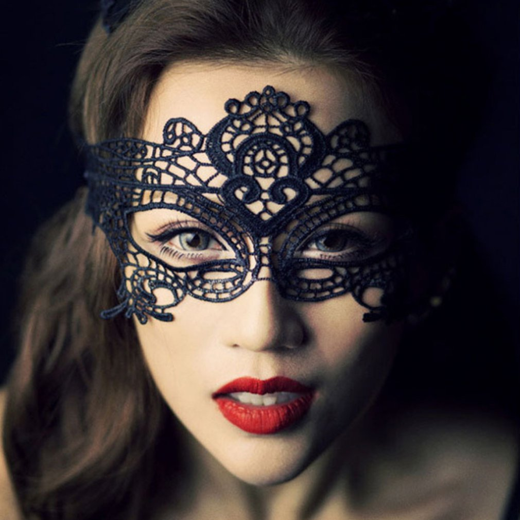 Black Lace Venetian Masquerade Mask Party Prom Mardi Gras Halloween Costume