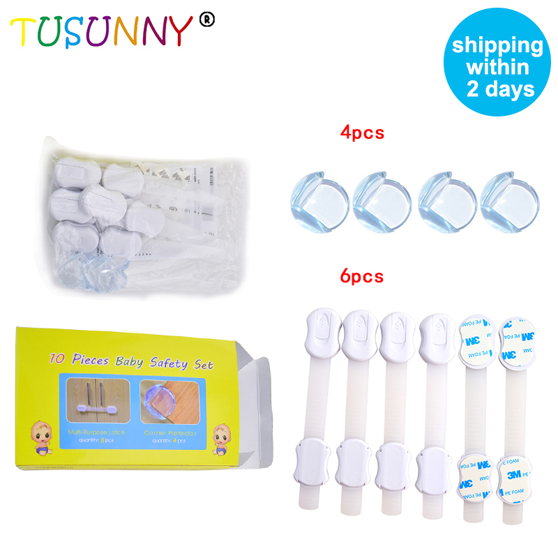 TUSUNNY 10 Pcs/Lot Baby Safety Protection Set Baby Safety Lock Protective Drawer Protector Children Anticollision Edge & Corner