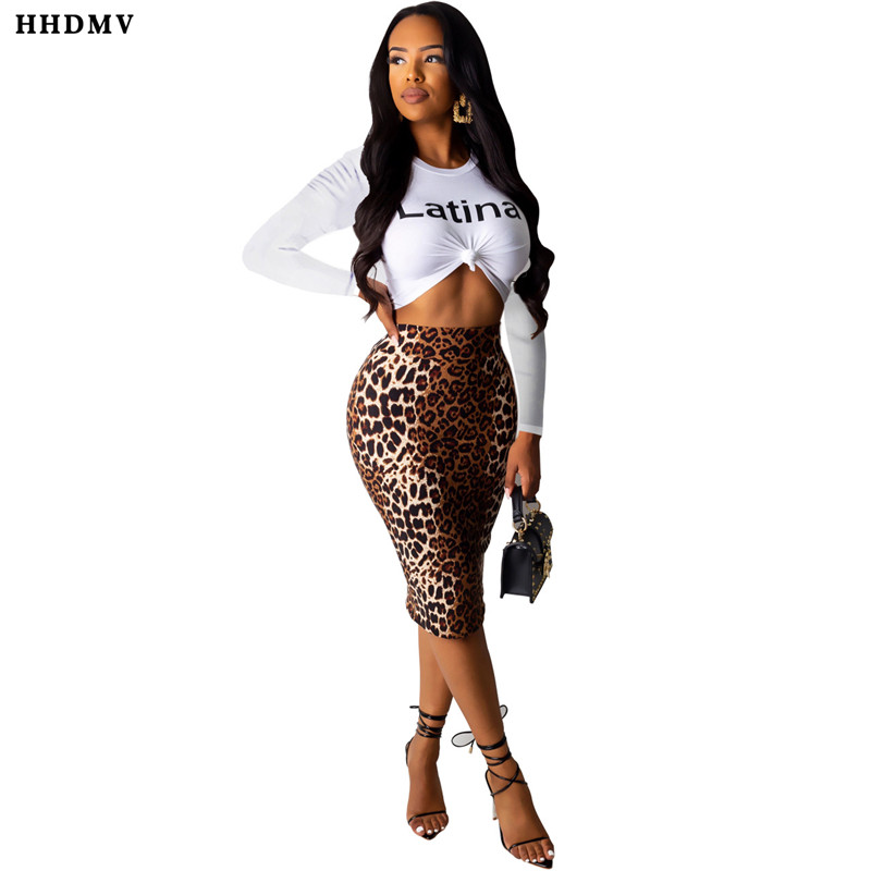HHDMV MOS946 sexy tight high street style sets long sleeve round neck top elastic leopard grain knee-length skirt two piece sets