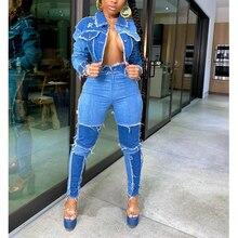 Женский костюм из двух предметов рваные джинсы в стиле пэчворк