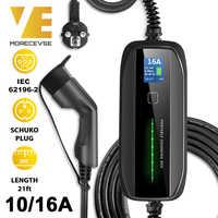 Портативное зарядное устройство Morec Type 2 для электромобиля с разъемом 10/16A Schuko, автомобильное зарядное устройство EVSE 2,2/3,6 кВт