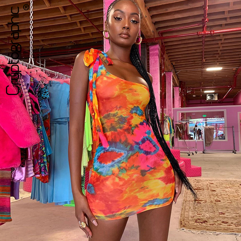 Cryptographic One Shoulder Sexy Backless Fashion Tie Dye Mini Dress Women Party Club Up Strapless Bodycon Dresses Slim
