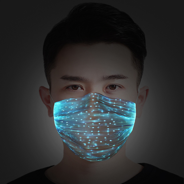 LED Flashing Mask 7Colors Luminous Mask Activated Carbon With Filter Anti-Pollution Breathable Dustproof Motorcycle Face Shileld
