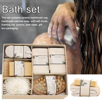 Eco Friendly Women Man Girl Kid Baby Bath Spa Essentials Bath Set With Pumice Stone Sponge Wooden Massager Brush Soap Gift Set 2