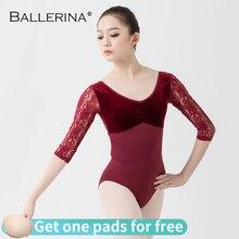 Leotardos de malla de encaje de Ballet para traje de baile femenino, leotardos de manga larga para gimnasia, bailarina 5890