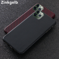 for Apple iPhone 11 Pro Max Case Cover Luxury Slim Real Matte Carbon Fiber Protective Armor Back Cover Phone Case for iPhone 11