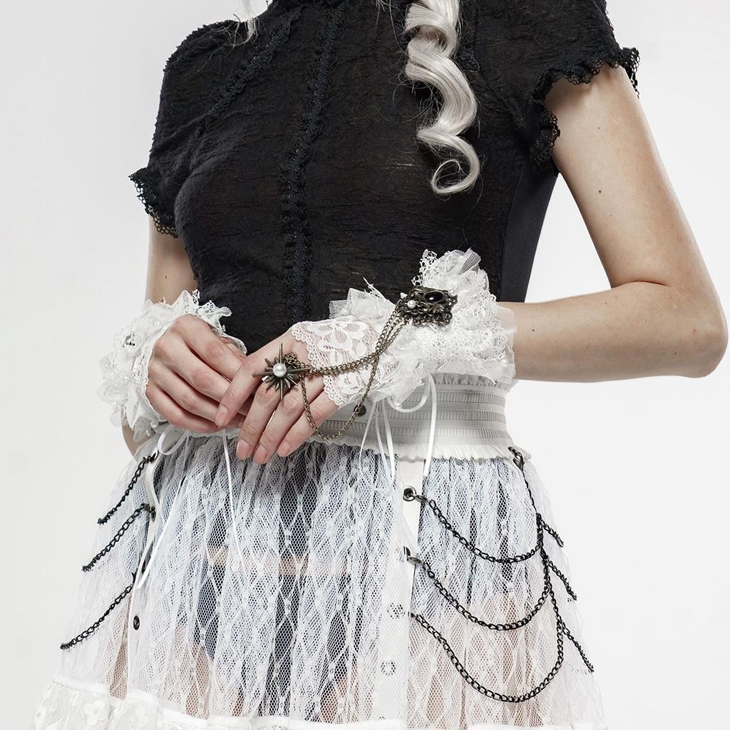 PUNK RAVE Women's Gorgeous Queen Lace Vintage Gloves Punk Star Pendant Party Evening Dinne Fasion Gloves