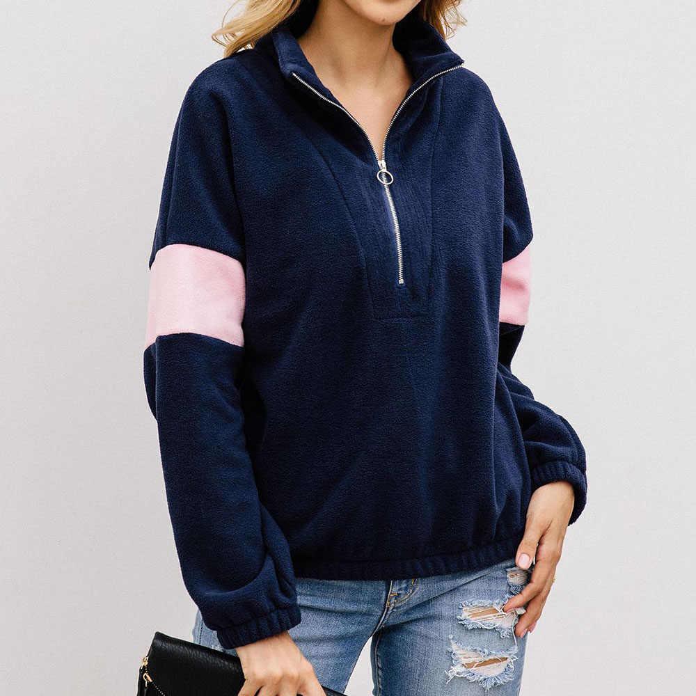 ファッションパッチワークパーカー女性 2019 冬厚く暖かいルーズプルオーバースウェットシャツ秋デザイナーブルー因果フリースフーディトップス
