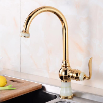 Vidric Tall Kitchen Faucets Brass with Marble Kitchen Crane Single Handle Gold Finish 360 Swivel Mixers Taps Kitchen Tap Sink Mi