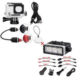 Image 2 - Ir pro acessórios para gopro hero 4/3 +/3 mergulho subaquático à prova dwaterproof água led luz caso habitação capa cabo de carga