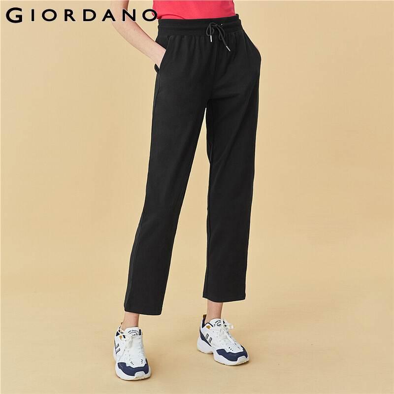 Giordano Women Pants Solid Cotton Elastic Waistband Trousers Loose Comfy Slant Pockets Casual Spodnie Damskie 94429253