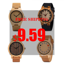Wood Watch Man ladies BOBO BIRD Classic Zebra Ebony Wood Wristwatches Male Leather Quartz in Sales Deal high quality Christmas