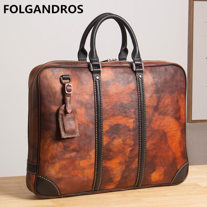 2020 Brand Genuine Leather Briefcases Men's Designer Handmade Vintage Business Document Briefcase High Quality Cowhide Hand Bag