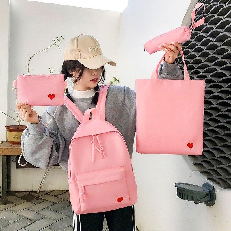 Image 2 - 4set Backpack For Teenage Girls Kids Children Student Women Backpack Booksbag Teen Shoulder Bag Child Schoolbag Mochilas FemaleBackpacks   -