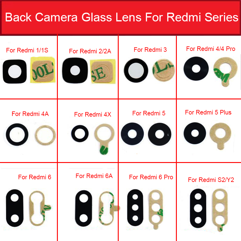 Back Camera Glass Lens With Sticker Glue For Xiaomi Redmi 1 1S 2 2A 3S 3X 4X 4A 5Plus 6Pro 6A 7 7A 8A S2 Y2 Camera Lens Glass