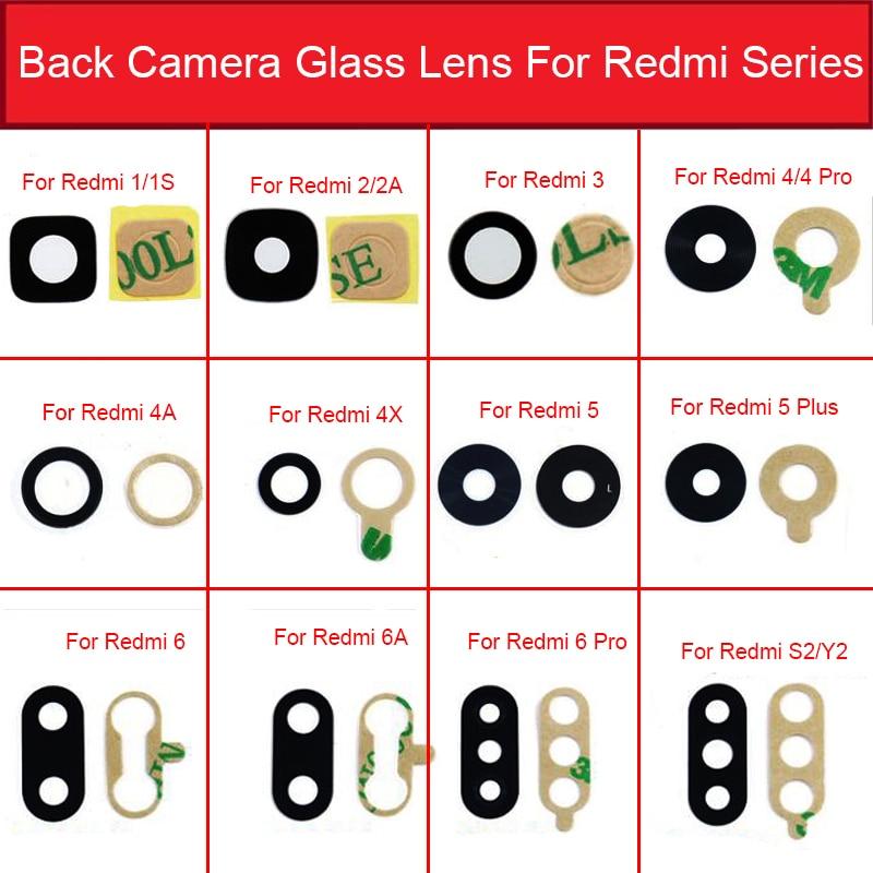 Back Camera Glass Lens With Sticker Glue For Xiaomi Redmi 1 1S 2 2A 3S 3X 4X 4A 5Plus 6Pro 6A 7 7A 8A S2 Y2 Camera Lens Glass
