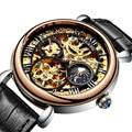 AILANG классический дизайн Moon Phase Мужские стимпанк автоматические механические часы Скелет винтажные деловые мужские часы s Tourbillon часы Лидиру...